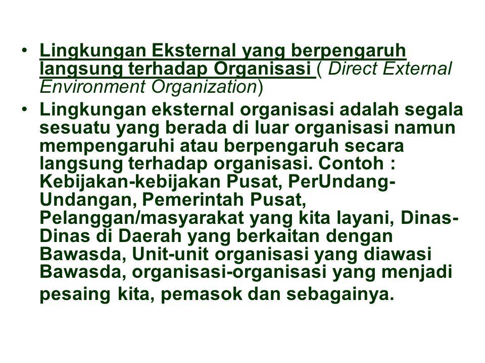 Lingkungan Eksternal yang berpengaruh langsung terhadap Organisasi ( Direct External Environment Organization) Lingkungan eksternal organisasi adalah