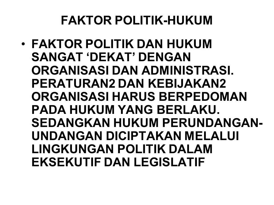 FAKTOR POLITIK-HUKUM FAKTOR POLITIK DAN HUKUM SANGAT 'DEKAT' DENGAN ORGANISASI DAN ADMINISTRASI. PERATURAN2 DAN KEBIJAKAN2 ORGANISASI HARUS BERPEDOMAN