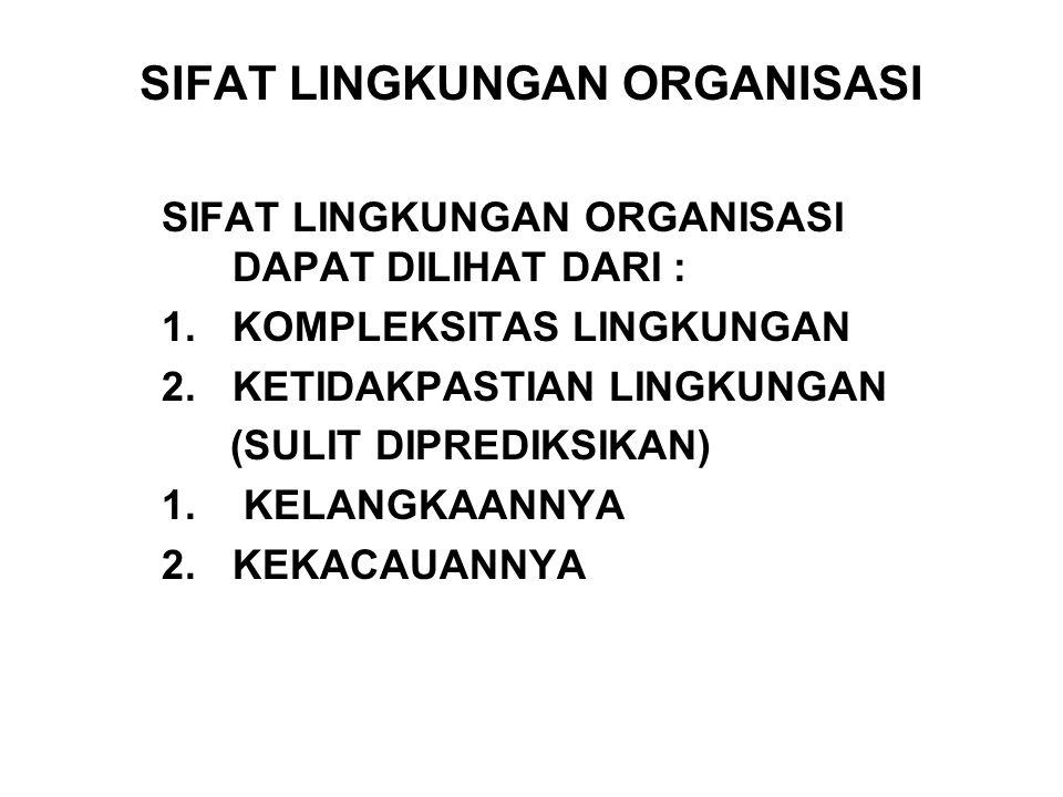 SIFAT LINGKUNGAN ORGANISASI SIFAT LINGKUNGAN ORGANISASI DAPAT DILIHAT DARI : 1.KOMPLEKSITAS LINGKUNGAN 2.KETIDAKPASTIAN LINGKUNGAN (SULIT DIPREDIKSIKA