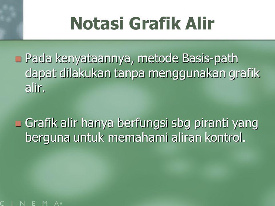 Notasi Grafik Alir Pada kenyataannya, metode Basis-path dapat dilakukan tanpa menggunakan grafik alir. Pada kenyataannya, metode Basis-path dapat dila