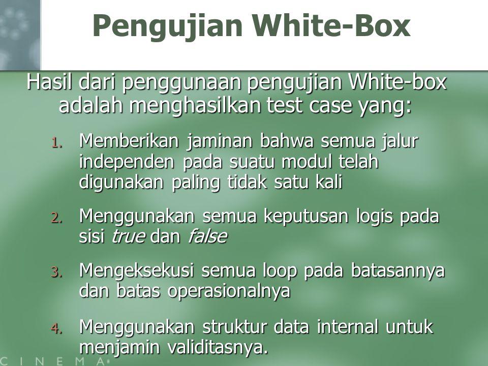 Pengujian White-Box Hasil dari penggunaan pengujian White-box adalah menghasilkan test case yang: 1. Memberikan jaminan bahwa semua jalur independen p