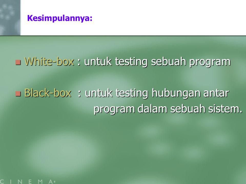Kesimpulannya: White-box : untuk testing sebuah program White-box : untuk testing sebuah program Black-box : untuk testing hubungan antar Black-box :