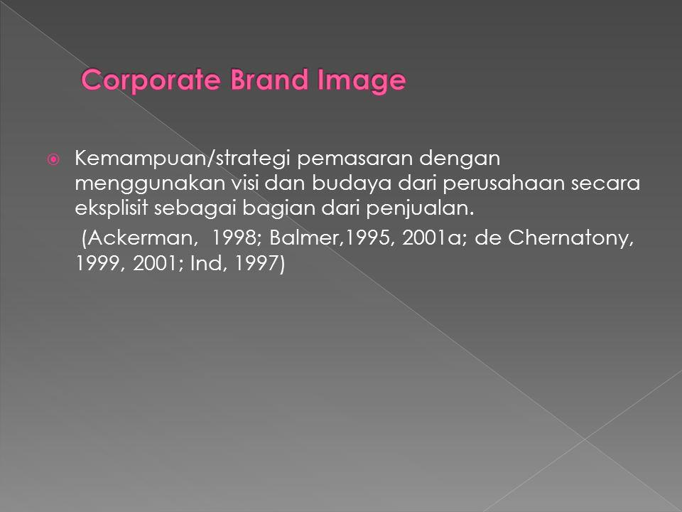  Kemampuan/strategi pemasaran dengan menggunakan visi dan budaya dari perusahaan secara eksplisit sebagai bagian dari penjualan. (Ackerman, 1998; Bal