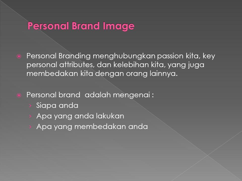 Personal Branding menghubungkan passion kita, key personal attributes, dan kelebihan kita, yang juga membedakan kita dengan orang lainnya.  Persona