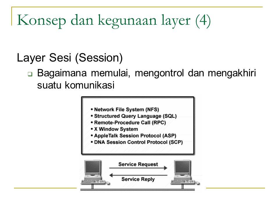 Konsep dan kegunaan layer (4) Layer Sesi (Session)  Bagaimana memulai, mengontrol dan mengakhiri suatu komunikasi