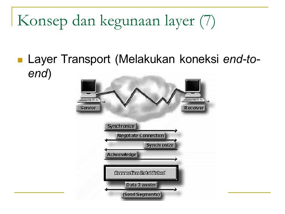 Konsep dan kegunaan layer (7) Layer Transport (Melakukan koneksi end-to- end)