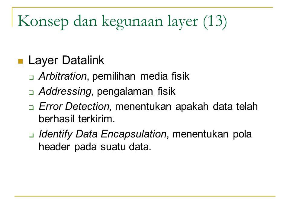 Konsep dan kegunaan layer (13) Layer Datalink  Arbitration, pemilihan media fisik  Addressing, pengalaman fisik  Error Detection, menentukan apakah data telah berhasil terkirim.