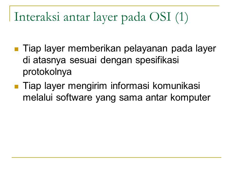 Interaksi antar layer pada OSI (1) Tiap layer memberikan pelayanan pada layer di atasnya sesuai dengan spesifikasi protokolnya Tiap layer mengirim informasi komunikasi melalui software yang sama antar komputer