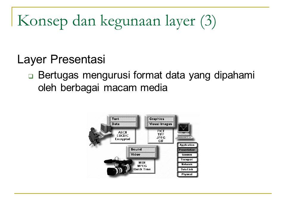 Konsep dan kegunaan layer (3) Layer Presentasi  Bertugas mengurusi format data yang dipahami oleh berbagai macam media