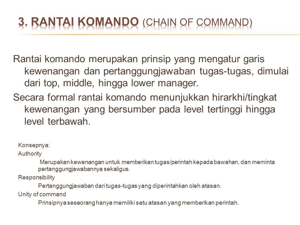 Rantai komando merupakan prinsip yang mengatur garis kewenangan dan pertanggungjawaban tugas-tugas, dimulai dari top, middle, hingga lower manager. Se
