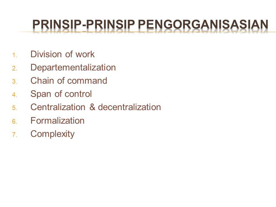 Division of work sering pula diartikan sebagai spesialisasi tugas.