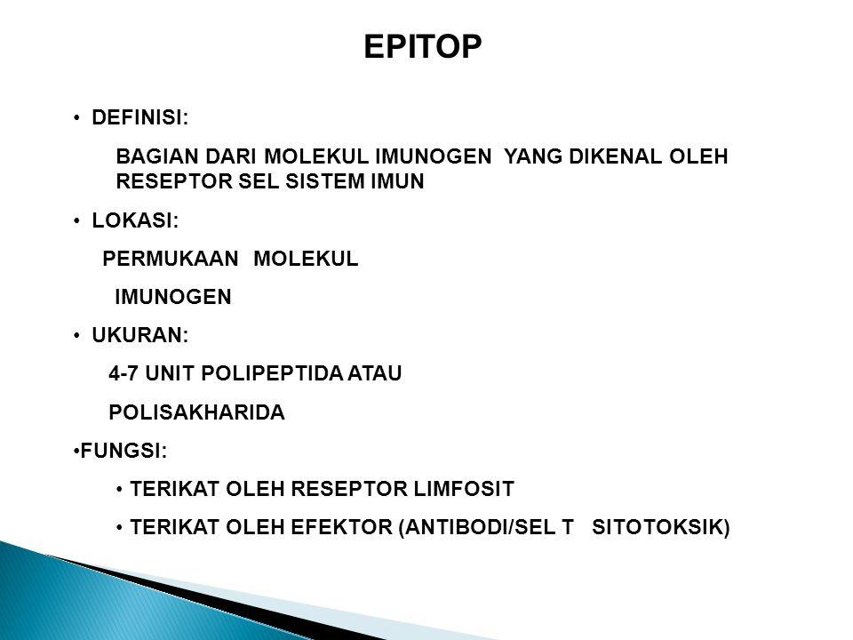 EPITOP DEFINISI: BAGIAN DARI MOLEKUL IMUNOGEN YANG DIKENAL OLEH RESEPTOR SEL SISTEM IMUN LOKASI: PERMUKAAN MOLEKUL IMUNOGEN UKURAN: 4-7 UNIT POLIPEPTIDA ATAU POLISAKHARIDA FUNGSI: TERIKAT OLEH RESEPTOR LIMFOSIT TERIKAT OLEH EFEKTOR (ANTIBODI/SEL T SITOTOKSIK)