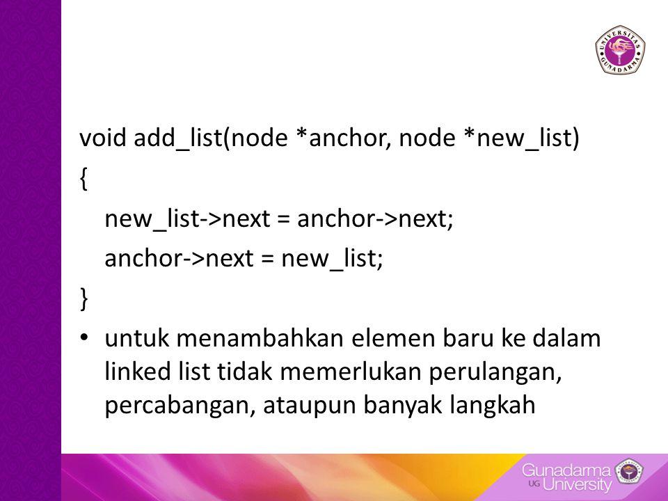 void add_list(node *anchor, node *new_list) { new_list->next = anchor->next; anchor->next = new_list; } untuk menambahkan elemen baru ke dalam linked list tidak memerlukan perulangan, percabangan, ataupun banyak langkah