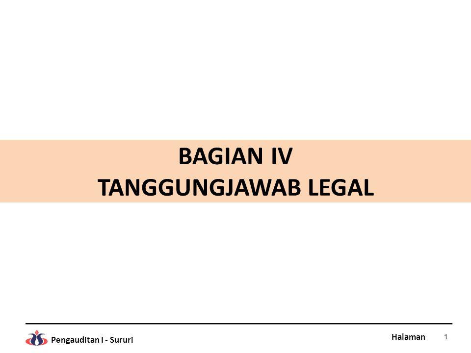 Halaman Pengauditan I - Sururi BAGIAN IV TANGGUNGJAWAB LEGAL 1