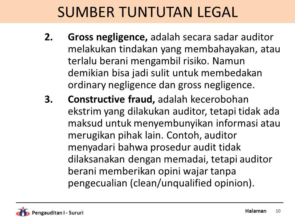 Halaman Pengauditan I - Sururi SUMBER TUNTUTAN LEGAL 2.Gross negligence, adalah secara sadar auditor melakukan tindakan yang membahayakan, atau terlalu berani mengambil risiko.