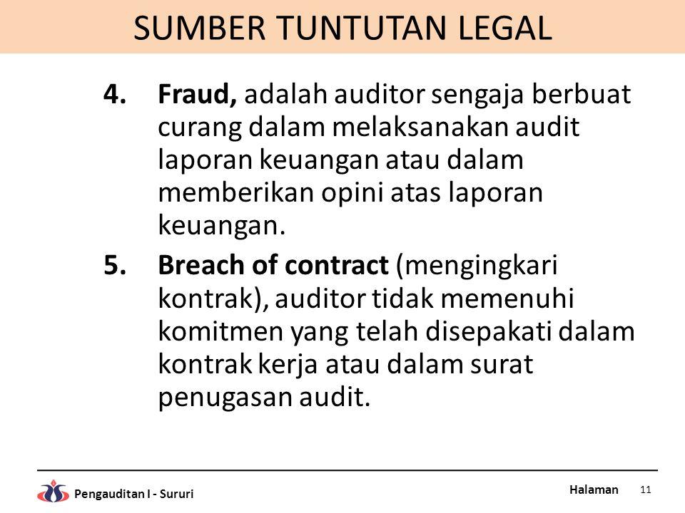 Halaman Pengauditan I - Sururi SUMBER TUNTUTAN LEGAL 4.Fraud, adalah auditor sengaja berbuat curang dalam melaksanakan audit laporan keuangan atau dalam memberikan opini atas laporan keuangan.