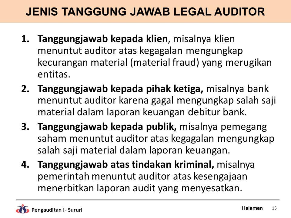 Halaman Pengauditan I - Sururi JENIS TANGGUNG JAWAB LEGAL AUDITOR 1.Tanggungjawab kepada klien, misalnya klien menuntut auditor atas kegagalan mengungkap kecurangan material (material fraud) yang merugikan entitas.