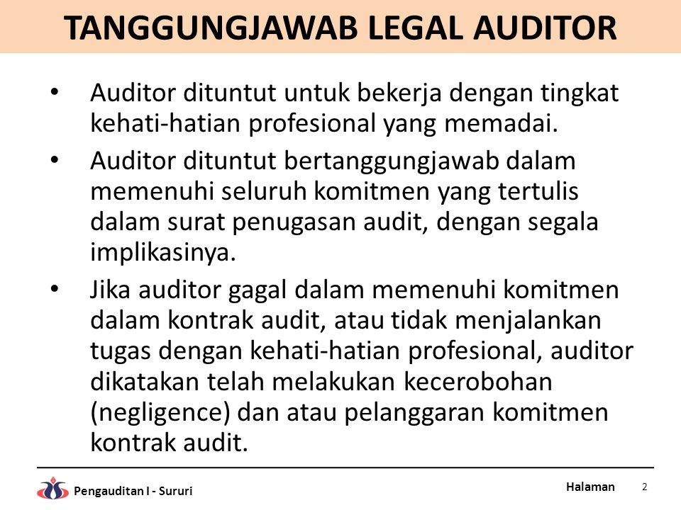 Halaman Pengauditan I - Sururi TANGGUNGJAWAB LEGAL AUDITOR Auditor dituntut untuk bekerja dengan tingkat kehati-hatian profesional yang memadai.