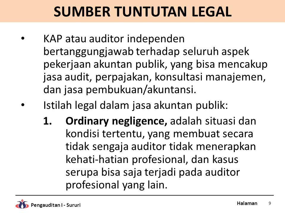 Halaman Pengauditan I - Sururi SUMBER TUNTUTAN LEGAL KAP atau auditor independen bertanggungjawab terhadap seluruh aspek pekerjaan akuntan publik, yang bisa mencakup jasa audit, perpajakan, konsultasi manajemen, dan jasa pembukuan/akuntansi.