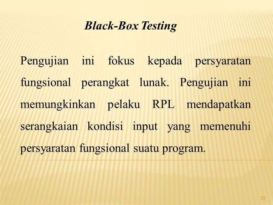 23 Black-Box Testing Pengujian ini fokus kepada persyaratan fungsional perangkat lunak. Pengujian ini memungkinkan pelaku RPL mendapatkan serangkaian