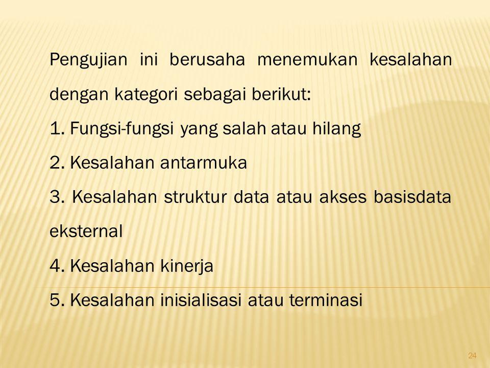 24 Pengujian ini berusaha menemukan kesalahan dengan kategori sebagai berikut: 1. Fungsi-fungsi yang salah atau hilang 2. Kesalahan antarmuka 3. Kesal