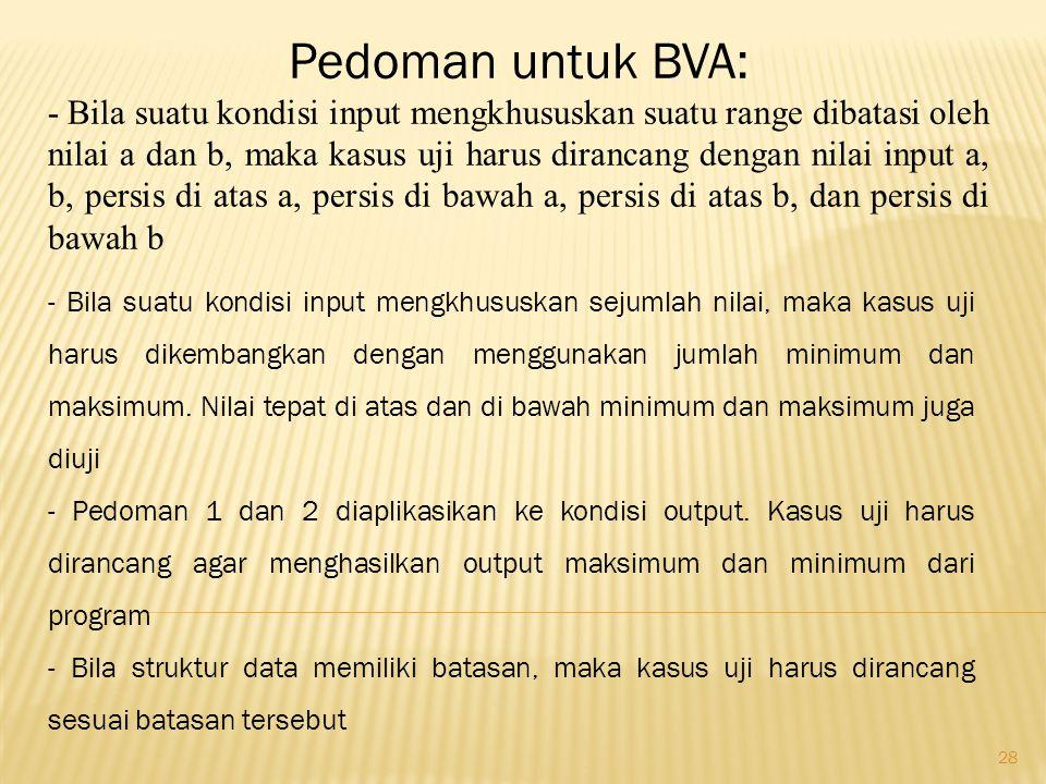 28 Pedoman untuk BVA: - Bila suatu kondisi input mengkhususkan suatu range dibatasi oleh nilai a dan b, maka kasus uji harus dirancang dengan nilai in