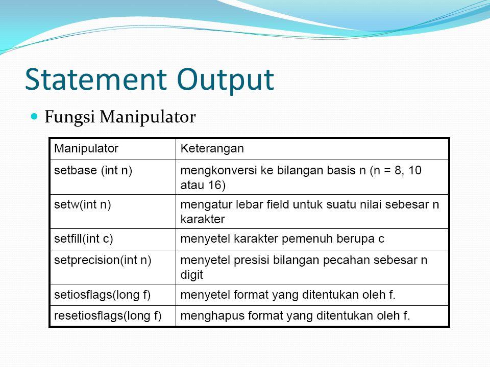 Statement Output Fungsi Manipulator