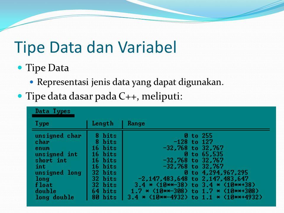 Tipe Data dan Variabel Tipe Data Representasi jenis data yang dapat digunakan. Tipe data dasar pada C++, meliputi: