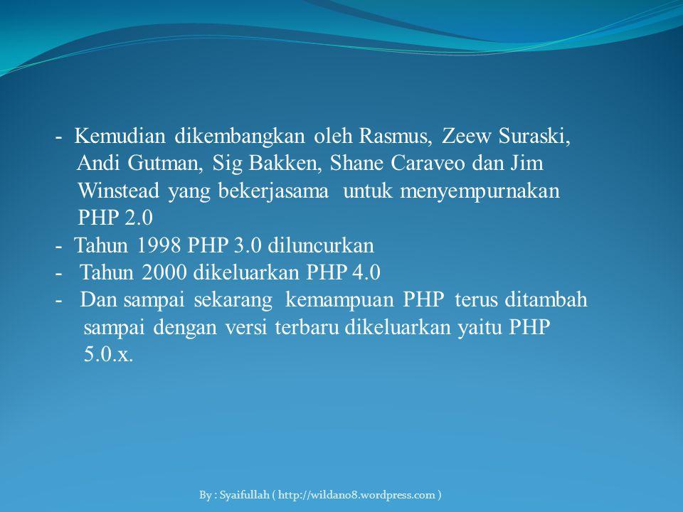 1.Apa itu PHP - PHP ( Hypertext Preprocessor ) itu digunakan sebagai bahasa Script Server side dalam pengembangan Web yang disisipkan pada dokumen HTML.