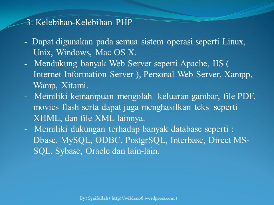 - Kemudian dikembangkan oleh Rasmus, Zeew Suraski, Andi Gutman, Sig Bakken, Shane Caraveo dan Jim Winstead yang bekerjasama untuk menyempurnakan PHP 2.0 - Tahun 1998 PHP 3.0 diluncurkan - Tahun 2000 dikeluarkan PHP 4.0 - Dan sampai sekarang kemampuan PHP terus ditambah sampai dengan versi terbaru dikeluarkan yaitu PHP 5.0.x.