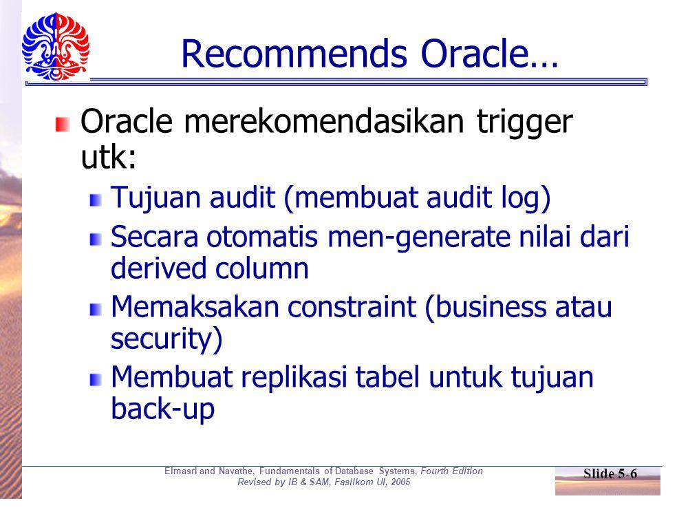 Slide 5-27 Elmasri and Navathe, Fundamentals of Database Systems, Fourth Edition Revised by IB & SAM, Fasilkom UI, 2005 Stored Procedure diaktifkan secara eksplisit Trigger diaktifkan oleh event Source: adapted from Mullins, 1995.
