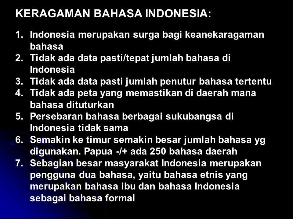 KERAGAMAN BAHASA INDONESIA: 1.Indonesia merupakan surga bagi keanekaragaman bahasa 2.Tidak ada data pasti/tepat jumlah bahasa di Indonesia 3.Tidak ada data pasti jumlah penutur bahasa tertentu 4.Tidak ada peta yang memastikan di daerah mana bahasa dituturkan 5.Persebaran bahasa berbagai sukubangsa di Indonesia tidak sama 6.Semakin ke timur semakin besar jumlah bahasa yg digunakan.