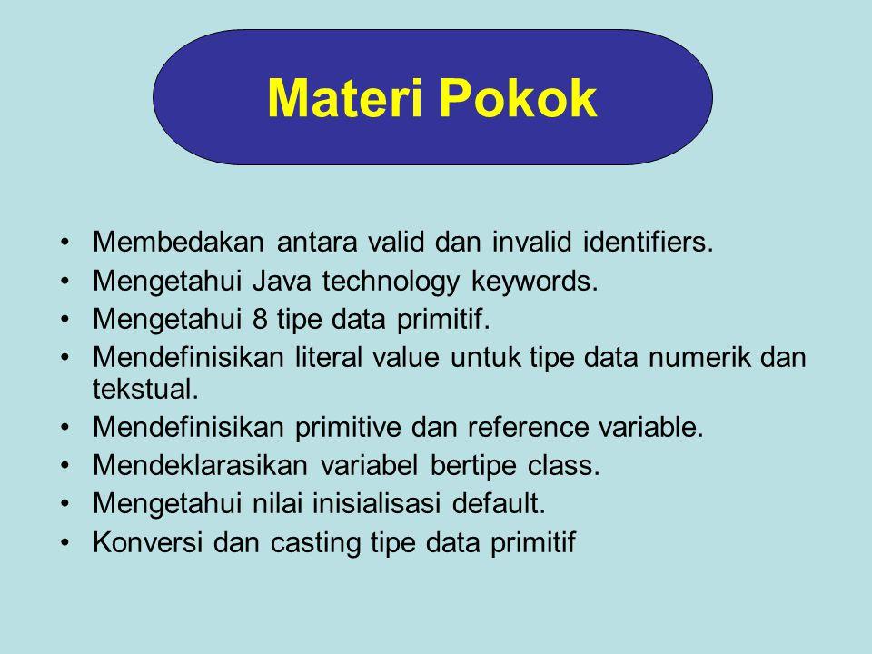 Membedakan antara valid dan invalid identifiers.Mengetahui Java technology keywords.