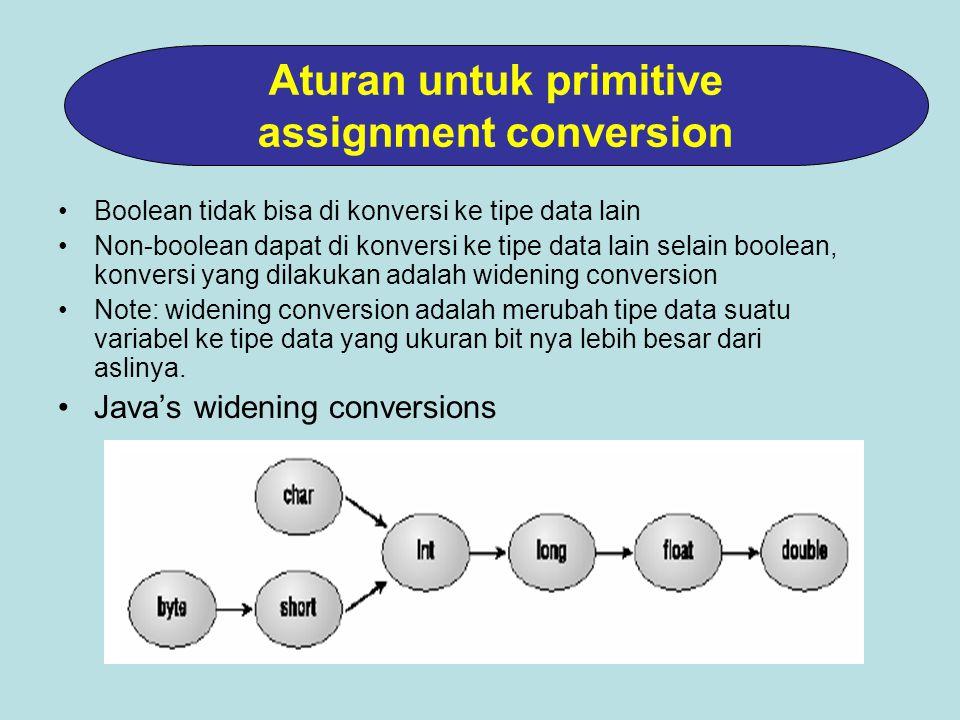 Boolean tidak bisa di konversi ke tipe data lain Non-boolean dapat di konversi ke tipe data lain selain boolean, konversi yang dilakukan adalah widening conversion Note: widening conversion adalah merubah tipe data suatu variabel ke tipe data yang ukuran bit nya lebih besar dari aslinya.