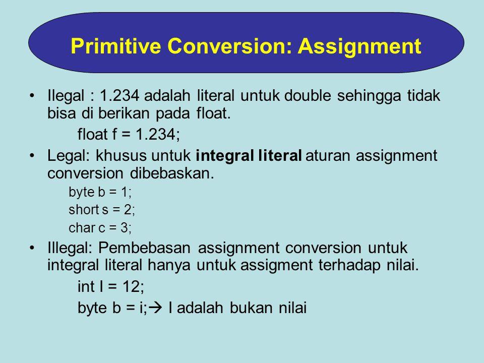 Ilegal : 1.234 adalah literal untuk double sehingga tidak bisa di berikan pada float.