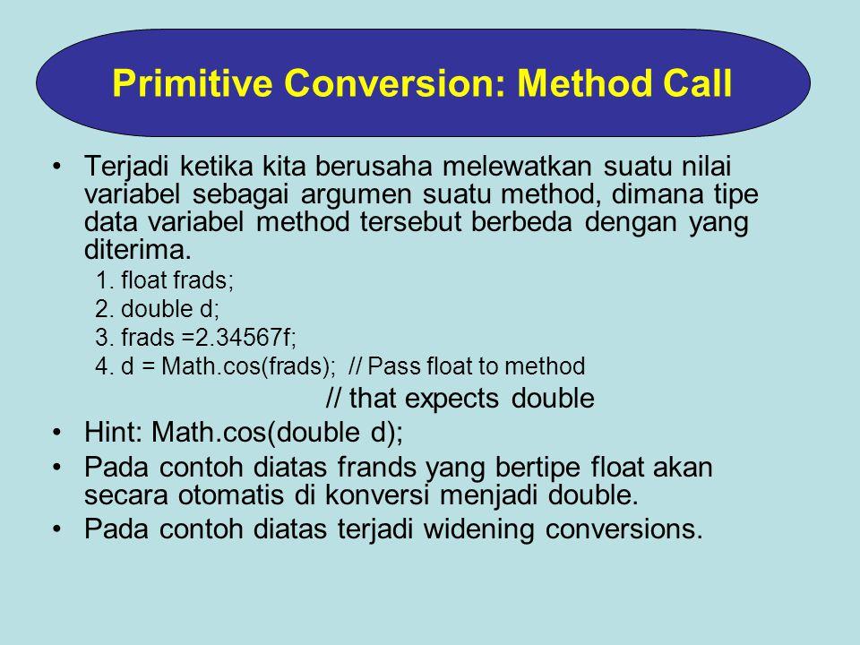 Terjadi ketika kita berusaha melewatkan suatu nilai variabel sebagai argumen suatu method, dimana tipe data variabel method tersebut berbeda dengan yang diterima.