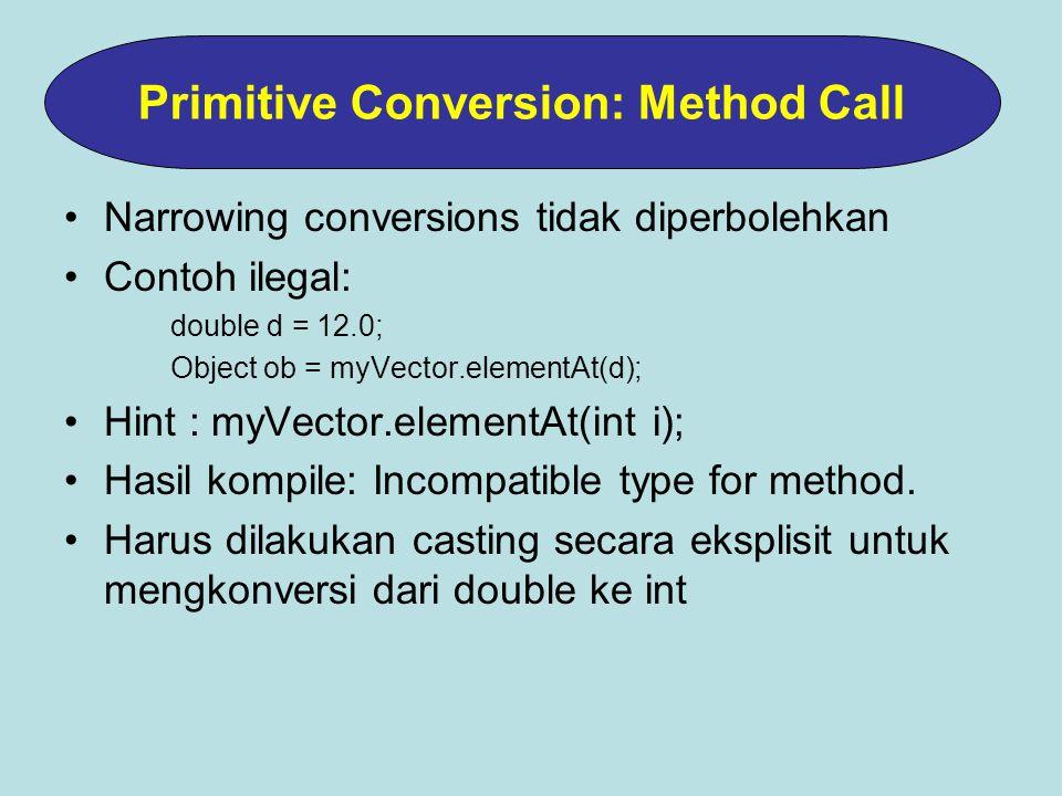 Narrowing conversions tidak diperbolehkan Contoh ilegal: double d = 12.0; Object ob = myVector.elementAt(d); Hint : myVector.elementAt(int i); Hasil kompile: Incompatible type for method.