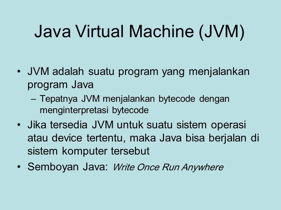 Application Programming Interface (API) Suatu bahasa pemrograman hanya mendefinisikan sintaks dan semantik bahasa tersebut –Fungsi-fungsi dasar di suatu bahasa pemrograman disediakan oleh library, misal printf di C disediakan oleh library C ( bukan oleh bahasa C) Di Java sudah tersedia kumpulan fungsi ( dalam Kelas tentunya, karena Java berparadigma OO) yang disebut sebagai Java API –Fungsi ini dijamin ada pada setiap implementasi platform Java