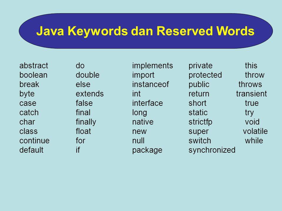 Nama yang digunakan oleh programer untuk memberi nama pada variable, class, atau method.