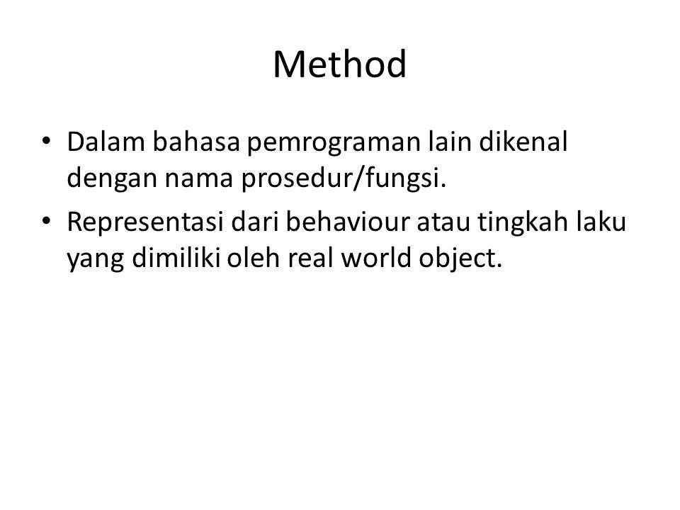 Method Dalam bahasa pemrograman lain dikenal dengan nama prosedur/fungsi. Representasi dari behaviour atau tingkah laku yang dimiliki oleh real world