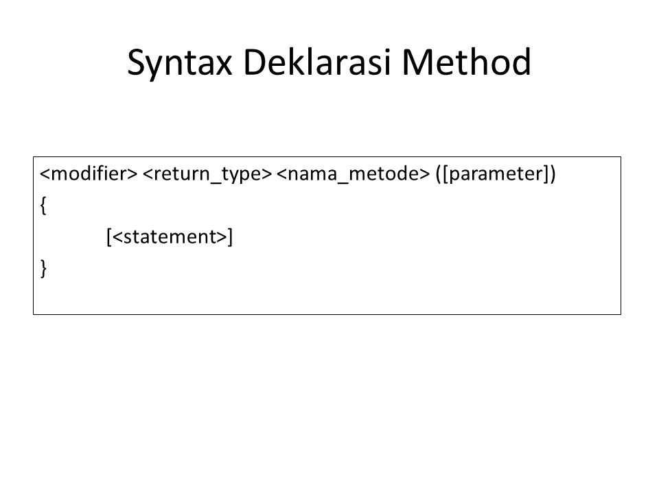 Syntax Deklarasi Method ([parameter]) { [ ] }