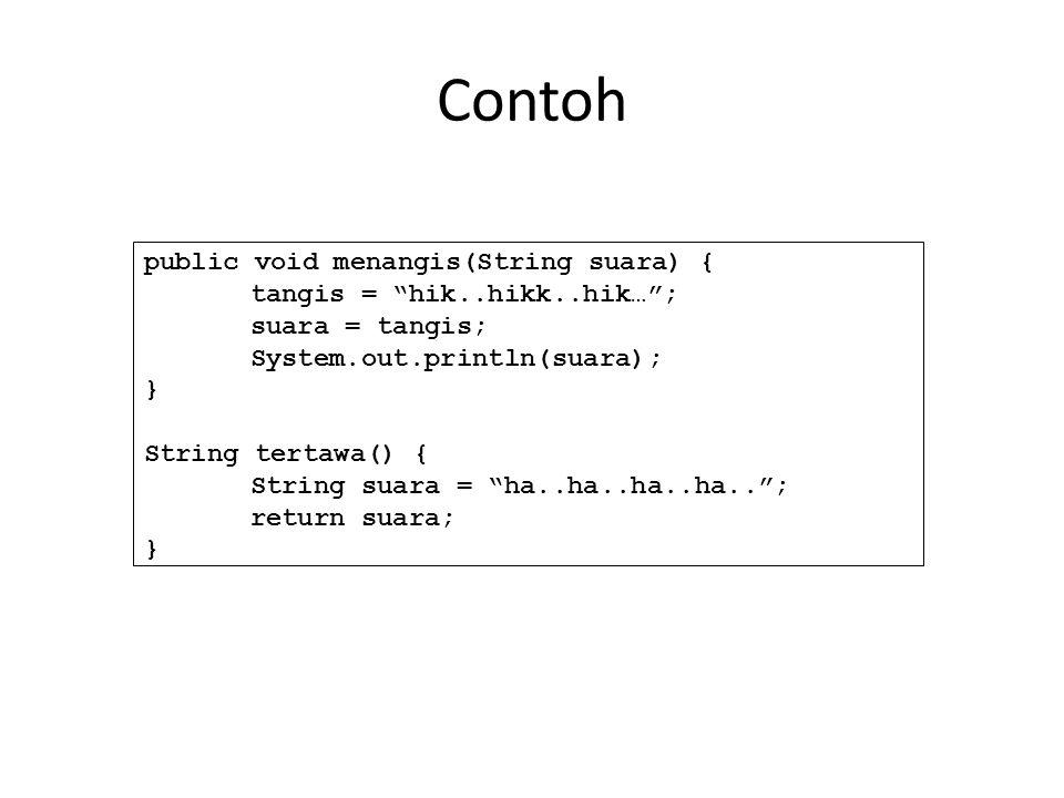 Contoh public void menangis(String suara) { tangis = hik..hikk..hik… ; suara = tangis; System.out.println(suara); } String tertawa() { String suara = ha..ha..ha..ha.. ; return suara; }