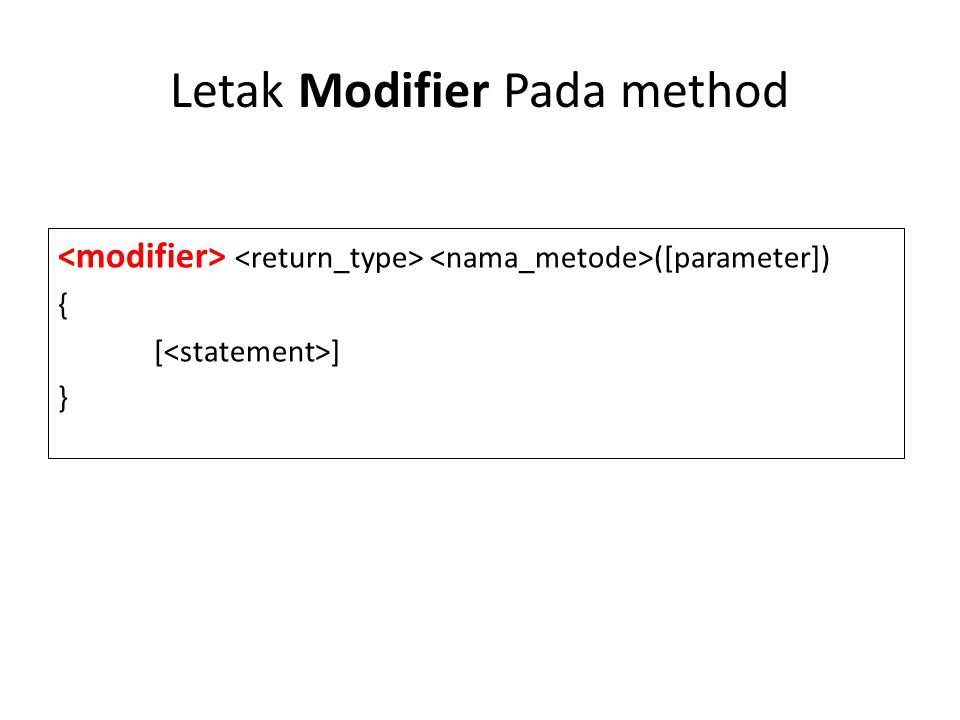 Letak Modifier Pada method ([parameter]) { [ ] }