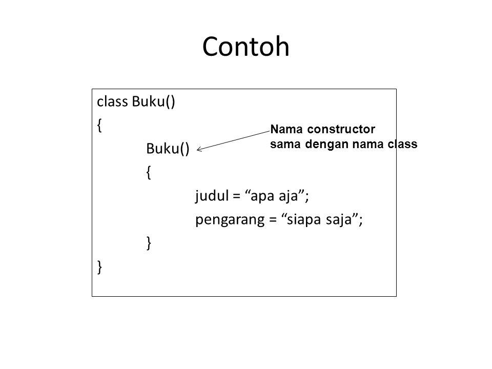 "Contoh class Buku() { Buku() { judul = ""apa aja""; pengarang = ""siapa saja""; } Nama constructor sama dengan nama class"