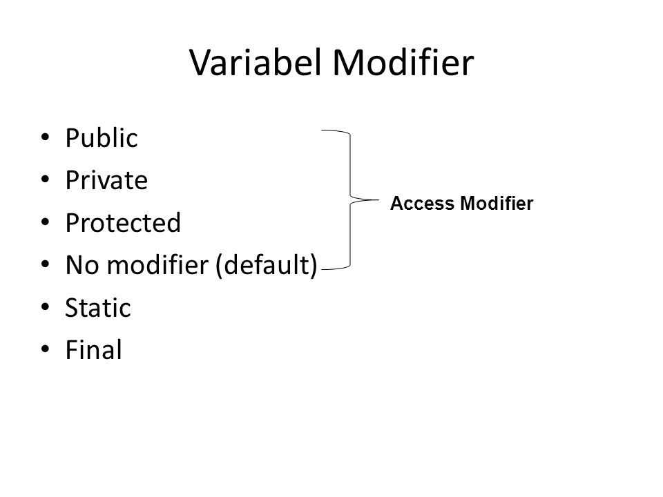 Variabel Modifier Public Private Protected No modifier (default) Static Final Access Modifier
