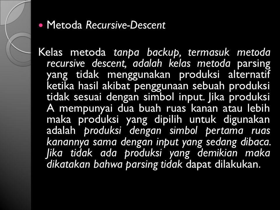 Metoda Recursive-Descent Kelas metoda tanpa backup, termasuk metoda recursive descent, adalah kelas metoda parsing yang tidak menggunakan produksi alt