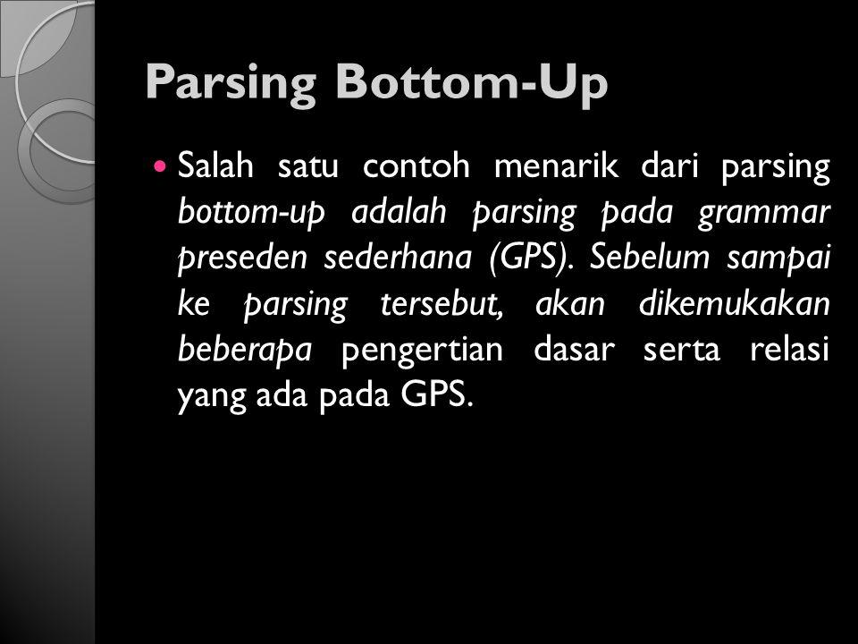 Parsing Bottom-Up Salah satu contoh menarik dari parsing bottom-up adalah parsing pada grammar preseden sederhana (GPS). Sebelum sampai ke parsing ter