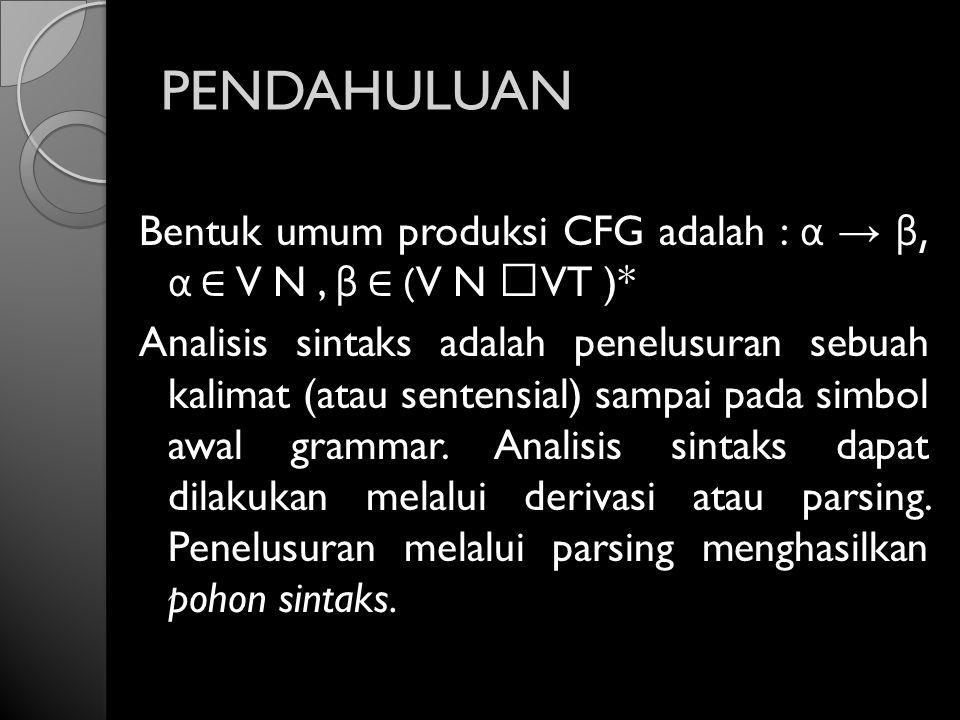 PENDAHULUAN Bentuk umum produksi CFG adalah : α → β, α ∈ V N, β ∈ (V N VT )* Analisis sintaks adalah penelusuran sebuah kalimat (atau sentensial) samp