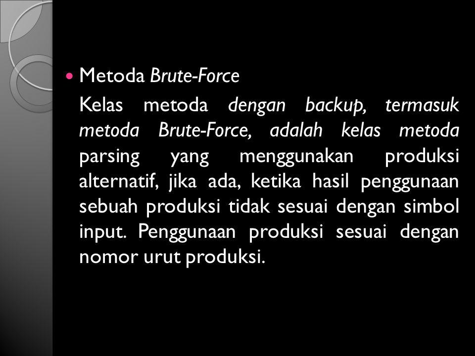 Metoda Brute-Force Kelas metoda dengan backup, termasuk metoda Brute-Force, adalah kelas metoda parsing yang menggunakan produksi alternatif, jika ada