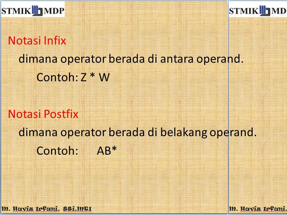 Notasi Infix dimana operator berada di antara operand. Contoh: Z * W Notasi Postfix dimana operator berada di belakang operand. Contoh: AB*